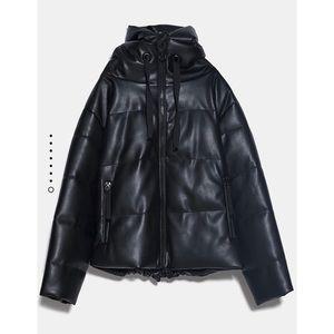 SOLD Zara Faux Leather Puff Coat